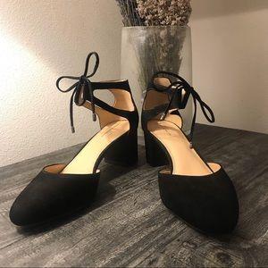 Antonio Melani Black Suede Ankle Tie Block Heels